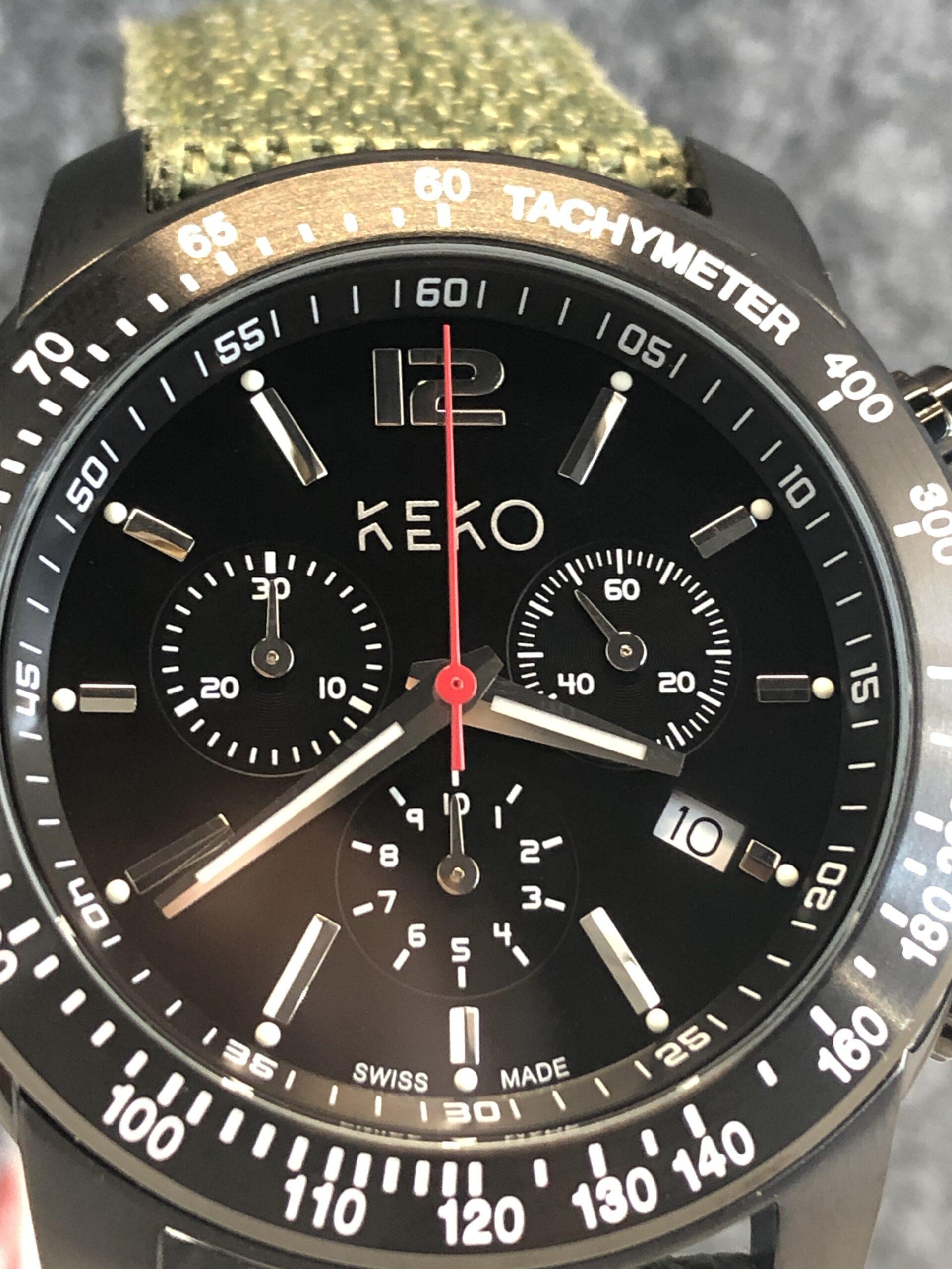 keko-chronograph-outdoor-adventure-mit-grünem-nylon-armband-frontansicht